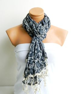 Gray White Scarf Turkish Fabric Fringed Guipure by WomanStyleStore, $19.90