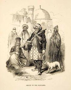 1858 Wood Engraving Bazaar Middle East Costume Dog Market Native Turban XGAD4