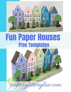 How to make a fun paper house based on the Amsterdam Canal Houses. Free PDF and SVG templates for do 3d Paper Crafts, Paper Toys, Diy Paper, Paper Art, Foam Crafts, Tissue Paper, Diy Crafts, 3d Templates, Templates Printable Free