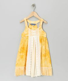 Take a look at this Yellow Lace Dress by Truly Me on #zulily today!