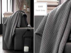Moderná tmavosivá bavlnená deka