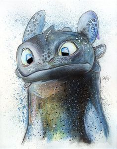 Drawn by LukeFielding ... How to train your dragon, toothless, night fury, dragon