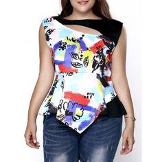5b8137b12c0cf Stylish Plus Size Cut Out Printed Asymmetric Top For Women