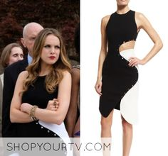 """by ShopYourTV0 Comments Fallon Carrington (Elizabeth Gillies) wears this black and white studded trim cut out dress in this episode of Dynasty, """"I Hardly Recognized You"""". It is the Thierry Mugler Studded Two-Tone Cady Dress,"""