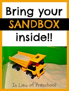 Come see how we made a little sandbox for indoor construction play!