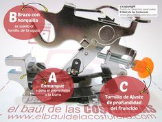 Prensatelas para fruncidos y tablas presser foot ruffles frilly sewing machine Sewing Projects, Vestidos, Clothing Alterations, Learn To Sew, How To Sew, Sewing Techniques