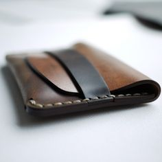Makr Carry Goods: Cordovan Flap Slim Wallet. Seam integrated keeper.