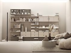 Designed by Nils Strinning in String Shelving still remains contemporary and relevant, regardless of the fast-paced, ever-changing environment that surrounds it. Wall Shelving Units, Shelving Systems, Storage Shelves, Wall Units, String Shelf, Office Bed, Modular Walls, White Shelves, Bench With Storage