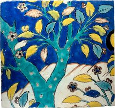 A tree amongst rocks: polychrome Safavid tile, Iran, 17th century.