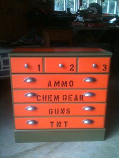 Sold Painted Industrial/Army Style Dresser by JessiandCompanyLLC Army Bedroom, Kids Bedroom, Bedroom Ideas, Kids Rooms, Nerf Gun, Camo Rooms, Army Decor, Home Goods Decor, Decorate Your Room