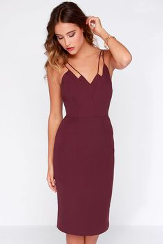 Keepsake Skinny Love Burgundy Midi Dress at Lulus.com!