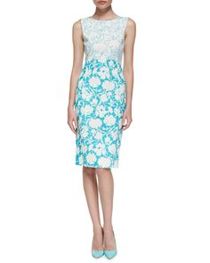 B2SWU Oscar de la Renta Sleeveless Two-Tone Floral Sheath Dress
