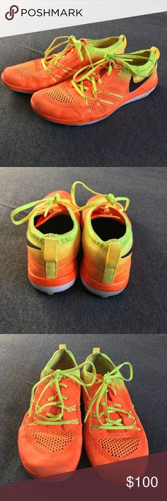 Nike Free TR - Volt/Orange Size 8 Nike Free TR show. Either 2017 or 2016. Barely worn and only worn to and from the gym! Soles are very clean and have lots of life left in them. Light discoloration on the toes but colors are still super bright/neon. Excellent condition. Flyknit material, super comfortable and breathes well. Has more of a flat sole so not recommended for running but they're great for weight lifting, plots, and other types of cross training. Nike Shoes Athletic Shoes
