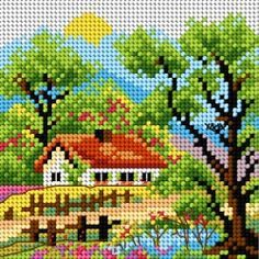 Designing Your Own Cross Stitch Embroidery Patterns - Embroidery Patterns Cross Stitch House, Cross Stitch Kits, Cross Stitch Designs, Cross Stitch Patterns, Loom Patterns, Cross Stitching, Cross Stitch Embroidery, Embroidery Patterns, Cross Stitch Landscape