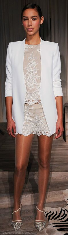 Alice and Olivia | S/S 2014, the shimmery hosiery makes the outfit. More women should wear shimmery nude hosiery.