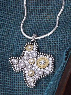 Bullet Jewelry - State of Texas Necklace w/ Bullets and Crystals via Etsy