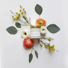 Sunday Morning Jar Candle with Gold Lid - 100% Soy - Minimalist Label - Pear, Jasmine, Bergamot, Lily, Gardenia, Infused with Essential Oils