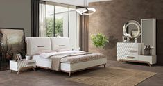 Lady's Houses: 10 Of The Most Stylish Modern Bedroom İdeas Room Decor Bedroom Rose Gold, White Bedroom Set, Room Ideas Bedroom, Bedroom Sets, Home Decor Bedroom, Bed Room, Bedroom Closet Design, Bedroom Furniture Design, Modern Bedroom Design