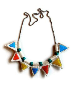 Embroidered jewelry necklace with colorful by AnAstridEndeavor, $35.00