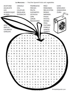 FREE word search & crossword puzzles for Spanish food vocabulary from PrintableSpanish.com