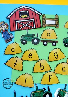 Community Helpers Activities for Preschool - Farmer Hauling Hay alphabet match.