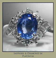 Cornflower Blue Sapphire & Diamond Ring Set In Platinum Platinum Jewelry, Sapphire Jewelry, Blue Sapphire Rings, Sapphire Diamond, Diamond Engagement Rings, Engagement Jewelry, Vintage Diamond, Galway Ireland, Diamond Cuts