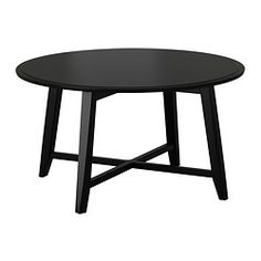 IKEA - KRAGSTA, Coffee table, black, , The round shape gives you a generous table top for trays, coffee or tea services. The dimensions make the table easy to place in the room.The table legs are made of solid wood, a durable, natural material.The included plastic feet protect the floor from scratches.You can easily create a coordinated look by completing KRAGSTA coffee table with the smaller nesting tables in the same series.