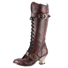 Hades Vintage Women's Boots Riveted Victorian Steampunk Inspired Buckle Heels