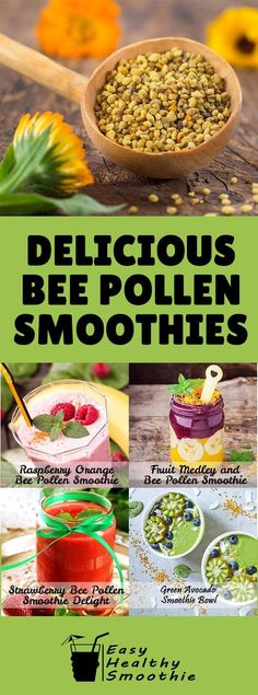 Enjoy the superfood health benefits of Bee Pollen with these 10 delicious smoothie recipes. Find out why it relieves stress, boosts fertility, fights cancer and more. Health Smoothie Recipes, Smoothie Diet, Diet Recipes, Shake Recipes, Avocado Smoothie, Health Recipes, Diet Tips, Recipies, Diet Drinks