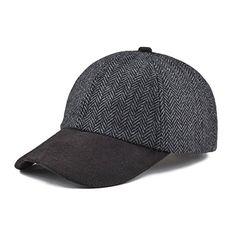 Chic VOBOOM Men s Wool Blend Baseball Cap Herringbone Tweed Ball Cap Check  Woolen Adjustable Peaked Cap fd87dd8568a7