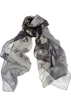 Alexander McQueen Skull-print ombré silk-chiffon scarf | NET-A-PORTER