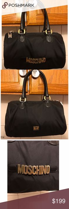 "Moschino Vintage black Satchel Nylon Bag RARE!! Have here a beautiful vintage Satchel nylon bag from Moschino. This is so RARE!!! Gold metal hardware   Authentic 100% Dimensions 9"" X 5"" Moschino Bags Satchels"