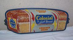 Colonial Bread Vintage Door Push Sign  (Antique 1950 Advertising Metal Signs, Enriched Bread)