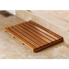 Teak Bathtub Mat - There is nothing more uneasy than standing on a hard tile floor and getting out from bath or the shower. Wooden Bathtub, Bathtub Mat, Wood Bathroom, Bathroom Flooring, Bathroom Rugs, Bathtub Ideas, Master Bathrooms, Bathroom Inspo, Bath Tub