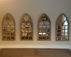 "Set of 4 Victorian Gothic Cathedral Arch Mirrors Distressed 13 75""WX29 5""H 
