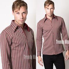 Men's Vintage Men's 70s shirt  Stripe top Men's shirt Men's Maroon shirt Men's Dress shirt - M