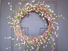 pink willow easter spring wreath