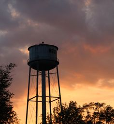 sunset and water tower