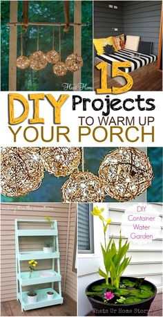 15 DIY Projects to Warm Up Your Front Porch 15 DIY Projects to Warm up Your Porch. Love how much these improve the look of your porch! Hm Deco, Outdoor Projects, Outdoor Decor, Outdoor Living, Outdoor Crafts, Diy Porch, Diy Front Porch Ideas, Ideas Hogar, Decks And Porches