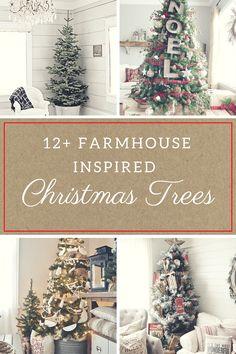 Christmas decor, farmhouse christmas trees, Christmas tree ideas, holiday decor, rustic holiday decor, DIY holiday, popular pin.