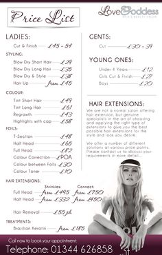 Salon Price List - I like the layout and the photo at the bottom.