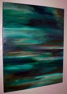 Tranquil Waters    28 x 22.    Acrylic abstract painting on canvas.    Sides are staple free, painted black, and ready to hang.    Signed and dated on the back.    This pretty acrylic abstract painting has been painted using the most soothing shades of emerald green, teal, turquoise, pale green, chocolate brown, sky blue, burnt umber, misty gray, white, and black. Finished in clear acrylic gloss varnish to protect the painting from dust and UV light. Lots of layers and color washes give this…