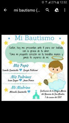 Tarjeta bautismo Baby Boy Baptism, Baptisms, Baptism Gifts, Communion, Baby Shower, Invitations, Album, Party, Ideas