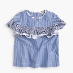 J.Crew - Girls' ruffle-tiered top in mixed stripes