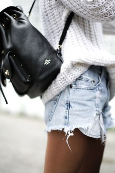 Cut offs + thick knit sweater.