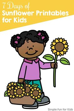 7 Days of Sunflower Printables for Kids - Simple Fun for Kids Fun Activities For Preschoolers, Autumn Activities For Kids, Printable Activities For Kids, Preschool Printables, Kindergarten Activities, Infant Activities, Number Activities, Preschool Themes, Alphabet Activities