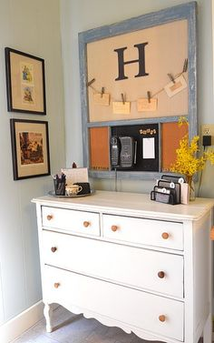 """Message Center ~ """"Budget Friendly Kitchen Remodel"""" ~ from Remodelaholic - I like the frame part with monogram and clothespins Diy Home Decor, Room Decor, Decor Crafts, Wall Decor, Wall Art, Pottery Barn Inspired, Shabby Chic Homes, Home Organization, Organizing"""