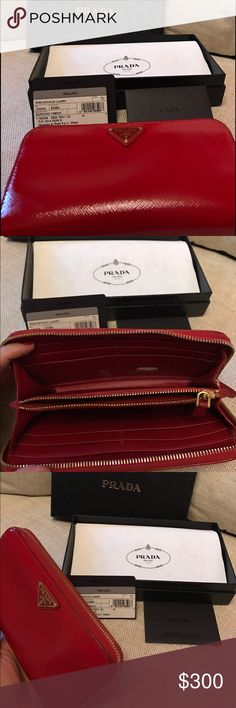 Red steffiano leather Prada wallet Beautiful 100 💯 authentic Prada zipper wallet holds so much! Comes with box and authenticity card. A little tiny bit wear on inside but that's normal for preloved! 9/10. Red wallet is good luck 🍀 Bags Wallets