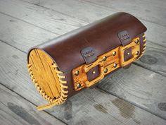 Bolso de horquilla motocicleta cosido cuero de madera con