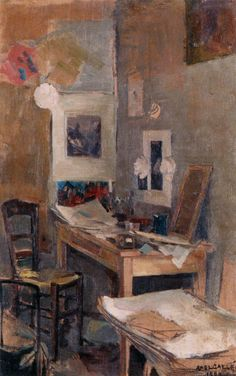 I bet this is what the studio really looked like in real life: Akseli Gallen-Kallela, My First Room in Paris, 1884.